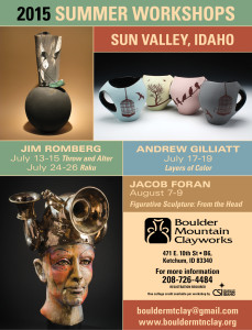 Jim Romberg, Andrew Gilliatt and Jacob Foran!  Exciting workshops for people who like to play in clay.