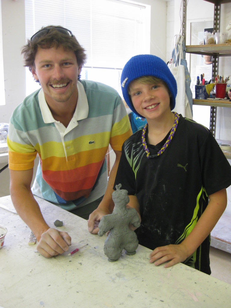 Our summer intern, Jackson Flynn, helps one of our clay campers with his project. What fun we had exploring ancient Japanese pottery styles! We opened our doors to the YMCA, The Ketchum Parks and Recreation Department and Camp Rainbow Gold this summer